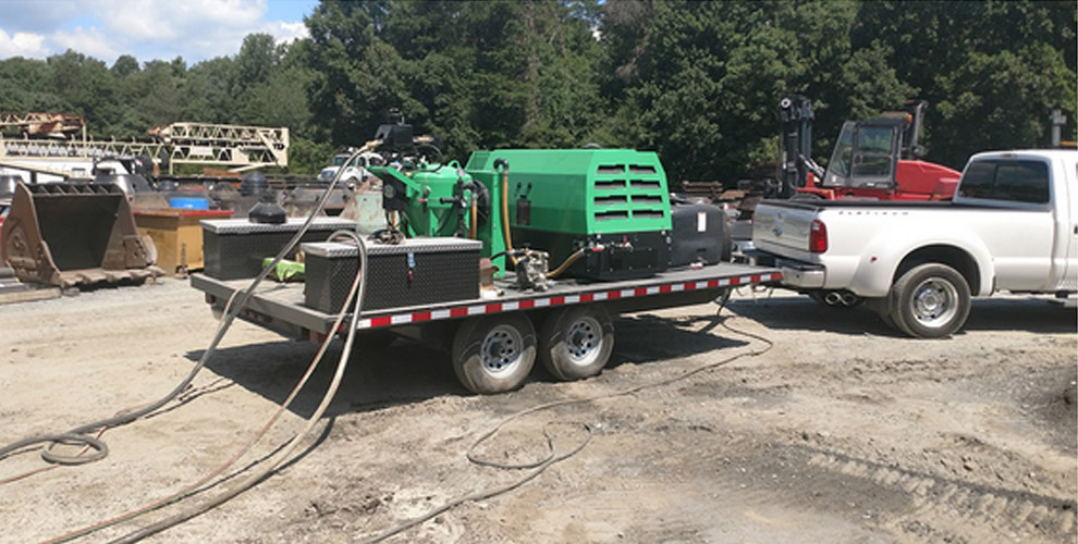 mobile dusting equipment at construction site